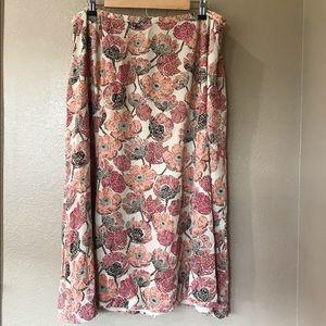TALBOTS 20W Petite Silk Fall Floral Dot Maxi Skirt